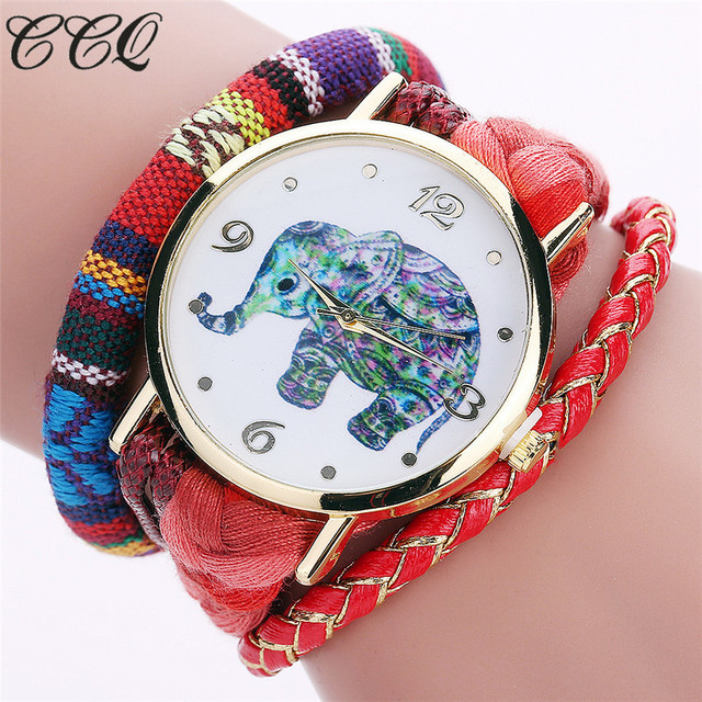 CCQ Brand Bohemian Style Handmade Braided Elephant Watch Fashion Women Rope Brac
