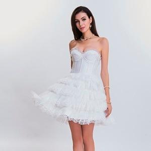 Image 4 - Corset met jurk steampunk gothic bustier Vrouwen Afslanken sexy taille kant bovenborst taille trainer party corset jurk top