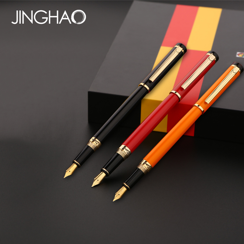 Luxury Gold Clip Fountain Pen Black Red Orange Pimio 908 Metal 0.5mm Iraurita Ink Pens the Best Gift Writing Stationery with Box кольца