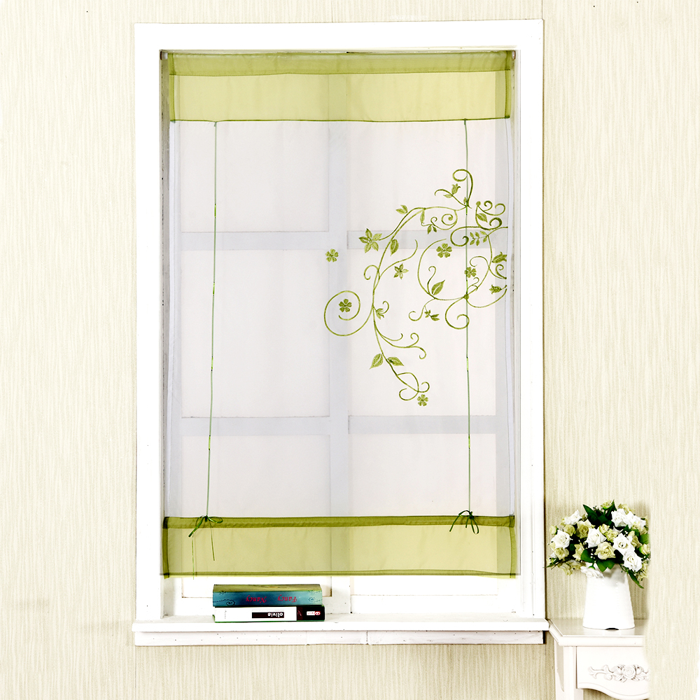 1pc Embroider Flower Short Sheer Curtains For Living Room