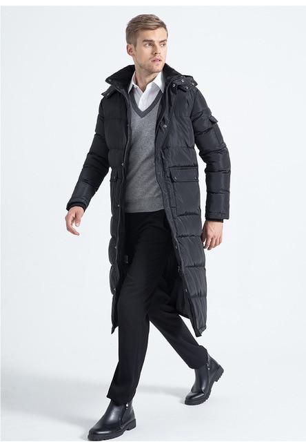 Las nuevas Llegadas Para Hombre Negro X-largo Abajo Grueso Abrigo de Invierno Mantener Caliente A Prueba de Viento chaqueta de Los Hombres de Cuello de Piel de Zorro Parka 3XL MT17004