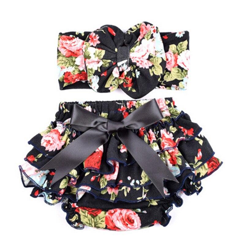 (dauwdruppel) Nieuwe Ontwerpen Baby Meisje Mode Shorts Met Katoenen Hoofdband Zomer Stijl Leuke Baby Meisjes Print Bloeier