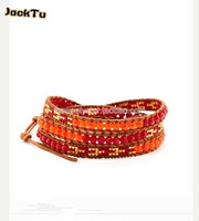2017 red seed beads with coral and orange beads mxied leather wrap bracelet