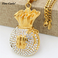 Tino Carlo Pave Set Glitter Cash $ Money Bag Necklace Gold Plated Iced Out Wallet Necklace Cuban Chain HipHop Statement Necklace