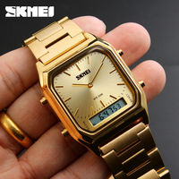 SKMEI Dual Display Quartz Wristwatches Men Fashion Casual Watch Stainless Steel Strap 30M Water Resistant Sports