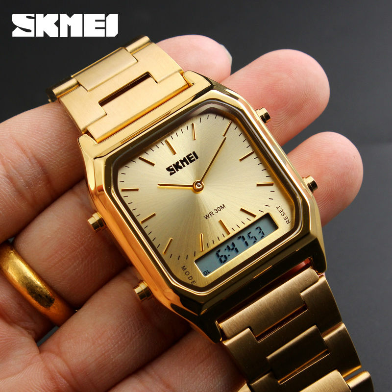 SKMEI Dual Display Quartz Wristwatches Men Fashion Casual Watch Stainless Steel Strap 30M Water Resistant Sports Watches 1220