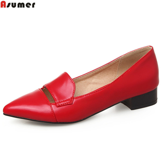 ASUMER black red yellow pointed toe shallow casual single shoes woman square heel fashion women low heels shoes big size 33-43