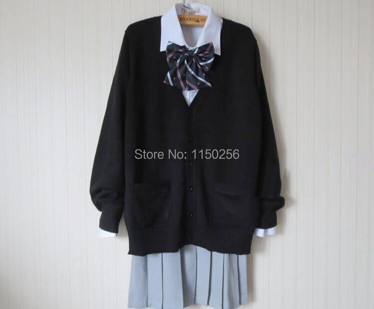4acec4d9537ac Japon Anime Cosplay Costume Kawaii École Sailor Uniforme Robe Outfit +  Tricoté Chandail Manteau + Cravate Ou Arc Nouvelle Livraison gratuite S-XXXL