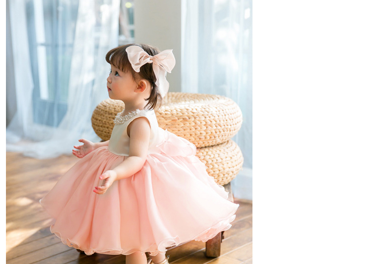 High Quality Baby Girl Dress Pink Chiffon Baptism Dress For Girl Infant 1  Year Birthday Dress. sku  32902036911 a5cbcacaa696