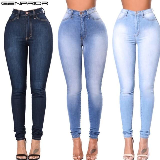 811204e49f GENPRIOR verano mujeres lápiz Jeans señora Stretch Denim Pantalones altos  elásticos Skinny más tamaño alta cintura