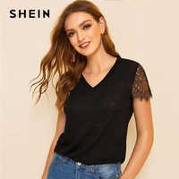 SHEIN Casual Black or White Eyelash Lace Trim Slub Knit Top T Shirt Women Summer V Neck Short Sheer Sleeve Solid Basics Tshirts