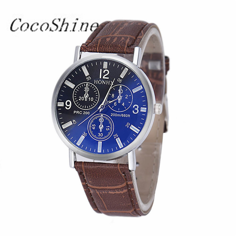 CocoShine A-969 Mens Luxury Crocodile Faux Leather Analog <font><b>Blu-Ray</b></font> Business Wrist Watch