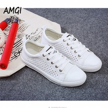AMGI 2017 Women Female Breathable casual Fashion White Shoes Slipony Footwear Spring Summer Pu Slip on Casual Shoes 498