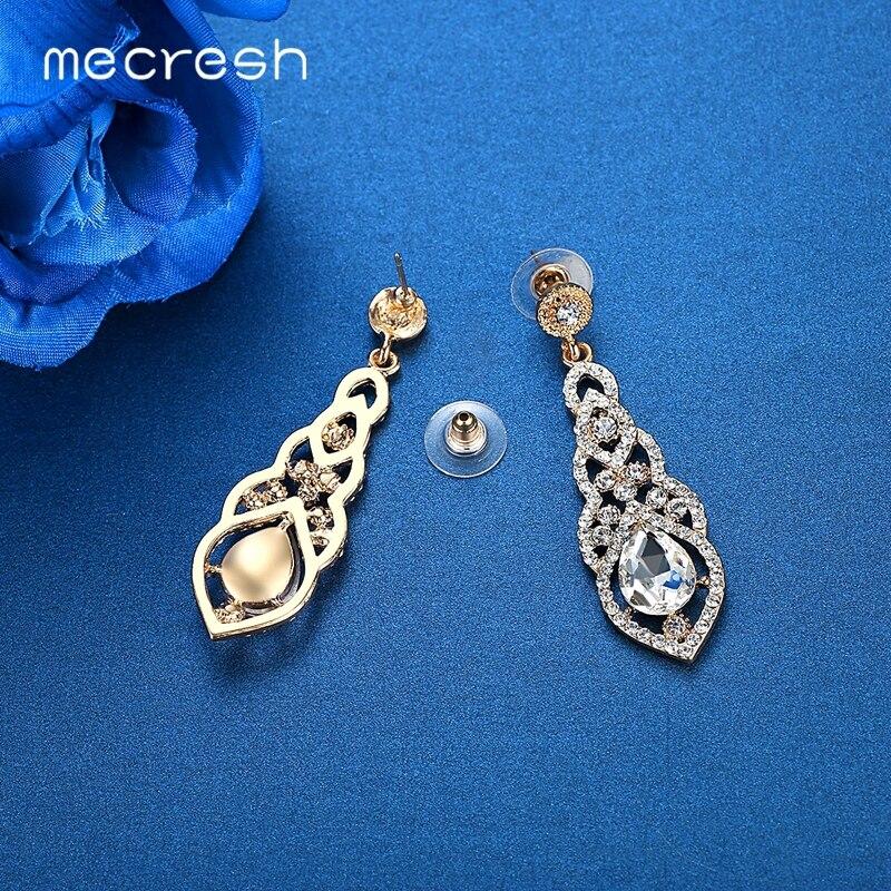 Mecresh Kristal Pernikahan Earrings untuk Wanita Lucu Warna Silver - Perhiasan fashion - Foto 5