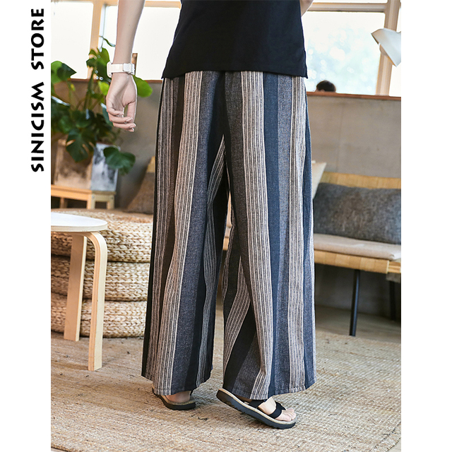 Sinicism Store Man Cotton Linen Wild Leg Pant Men Casual Stripe Straight Flare Trousers 2020 Male Traditional Pants Trousers 27