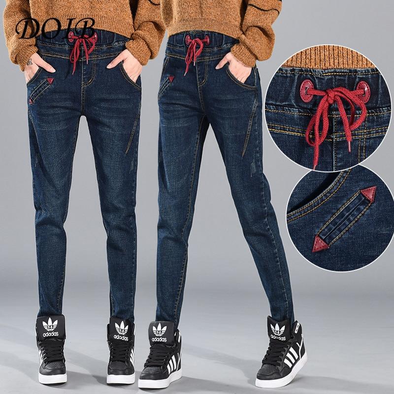 DOIB 2018 New Autumn Pencil Pants Vintage High Waist Jeans Womens Pants Full Length Pants Loose Ccowboy Pants Plus Size 5XL 6XL