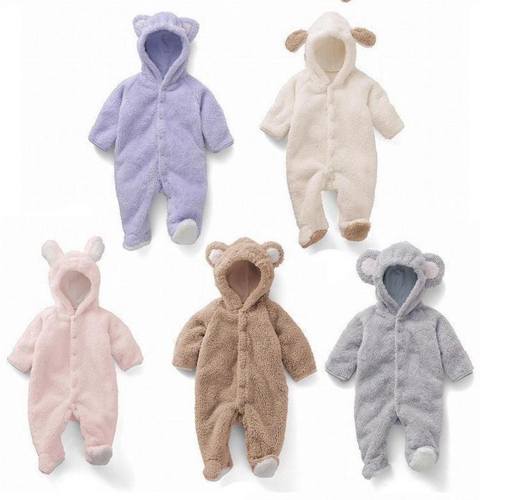 Baby Coverall animal style thick Winter Long Sleeve Infant Coral Fleece Romper Boys Girls Animal Overall Cartoon Jumpsuit 1pcs winter jumpsuit hip hop monkey animal shapes conjoined baby coverall pile thickness footies n06