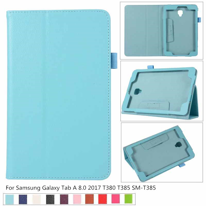 Business Litchi Magnet Luxury Stand Pu Leather Case Cover For Samsung Galaxy Tab A 8.0 2017 T380 T385 SM-T385 Tablet Funda Cases
