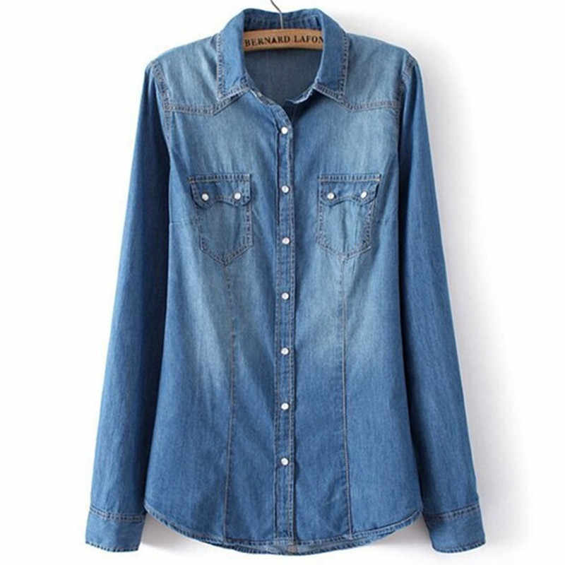 6961afd968 Western Women Blue Denim Shirt Soft All Cotton Chambray Blouses Shirts Long  Sleeve Pockets Turn Down