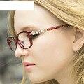Comercio al por mayor 6 unids/lote 2016 Nuevo Rhinestone Vinatge Mujeres Gafas Gafas de Marcos de Anteojos Ópticos 9328 Señoras Elegantes de la Marca de Lujo