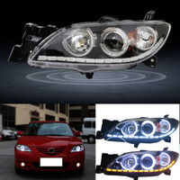 HID Headlight For Mazda 3 Sedan 2004 2009 With LED DRL And White Angel Eyes
