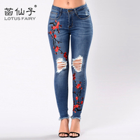 LotusFairy 2017 New Female Blue Jeans Embroidery Floral Pencil Pants Women Ripped Skinny Jeans Denim Trousers