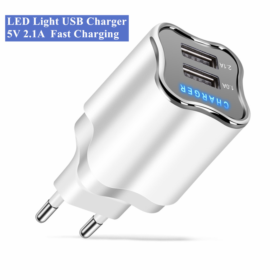 Dual USB Phone Charger 5V 2.1A Fast Charging Travel Wall Mobile Charger Adapter For Samsung Xiaomi Huawei Tablets EU/US charger