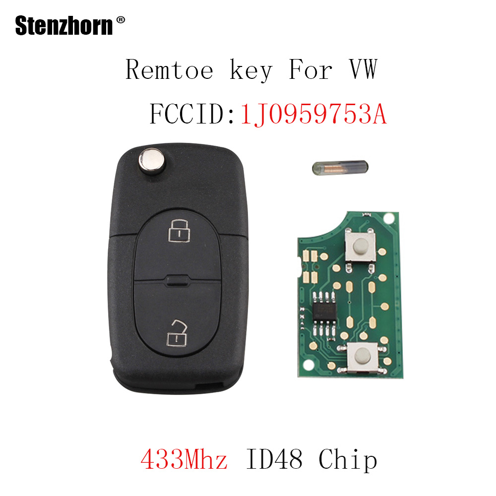 Stenzhorn 2 ButtonS Remote Car key For Volkswagen Golf MK4 1998-2001 Passat 1997 1998 1999 2000 1J0959753A 753A Original key 8d0121251m car cooling circular tube radiator for audi a4 quattro 1997 2001 volkswagen passat 1998 2005 auto radiator engine