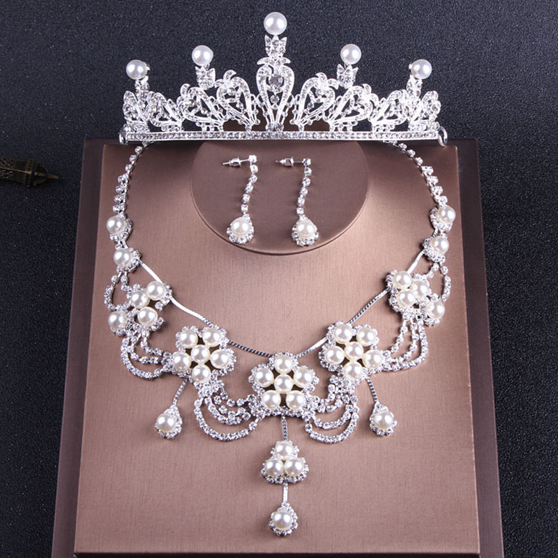 2018 Silver Hair Jewelry Set Necklace Earrings With Diamond Artificial Pearls Women Tiaras Wedding Party Headpieces Headbands