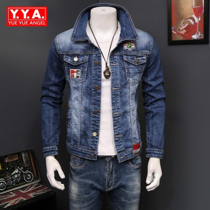 Korean Slim Fit Jeans Jacket For Men Washed Denim Fashion Motor Biker Long Sleeve Outwear Coat Plus Size S-4XL Jaqueta Hombre armani aj men s slim fit designer denim jeans 06j834h