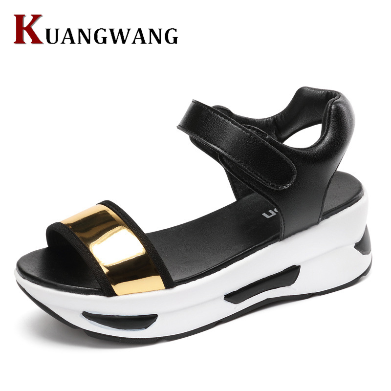 High Quality Women's Shoes Summer Wedges Sandals Fashion Lady Tennis Open Toe Slimming Woman Breathable Casual Sandals mario tennis open