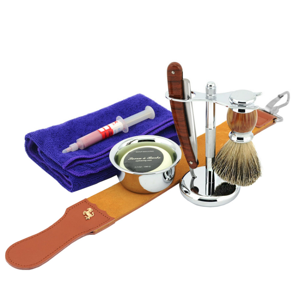 ZY 8pcs/set Man Shaving Razor Kit Straight Razor Cut Throat Badger Shaving Brush Stand +Leather Strop Shave Soap Bowl mens badger shaving brush stand razor holder and double head safety straight razor