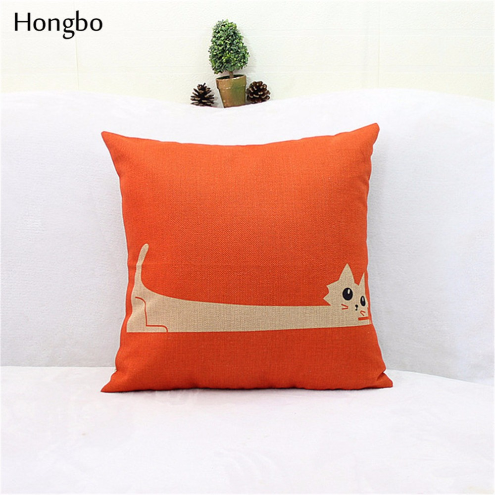 online get cheap orange decorative pillows aliexpresscom  - hongbo  pcs orange long cat pattern cotton linen square shaped decorativepillow cover pillowcase(