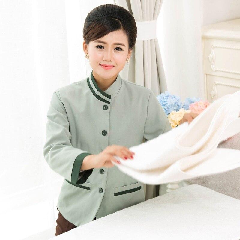 Overalls Housekeeper Work-Wear Female 10-Set-Coat--Pant Long-Sleeve Plus-Size Cleaner