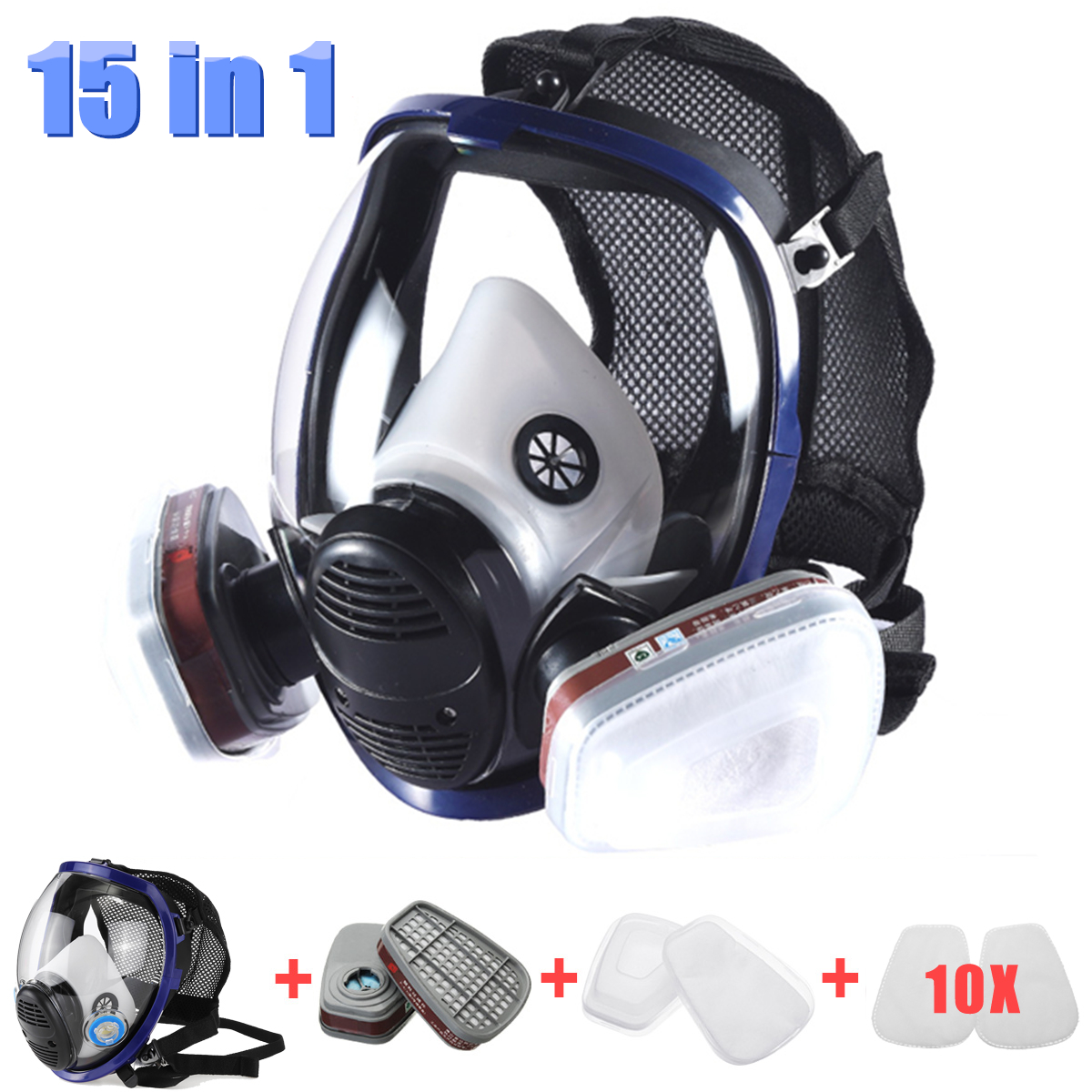 15 In 1 Gas Mask for 6800 Full Face Facepiece Respirator Painting Spraying Chemical Laboratory Medical