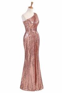 Image 3 - Świecące sukienki druhen długie cekiny 2020 różowe złoto wino czerwone niebieskie jedno ramię kolorowe Vestidos De Madrinha De Casamento