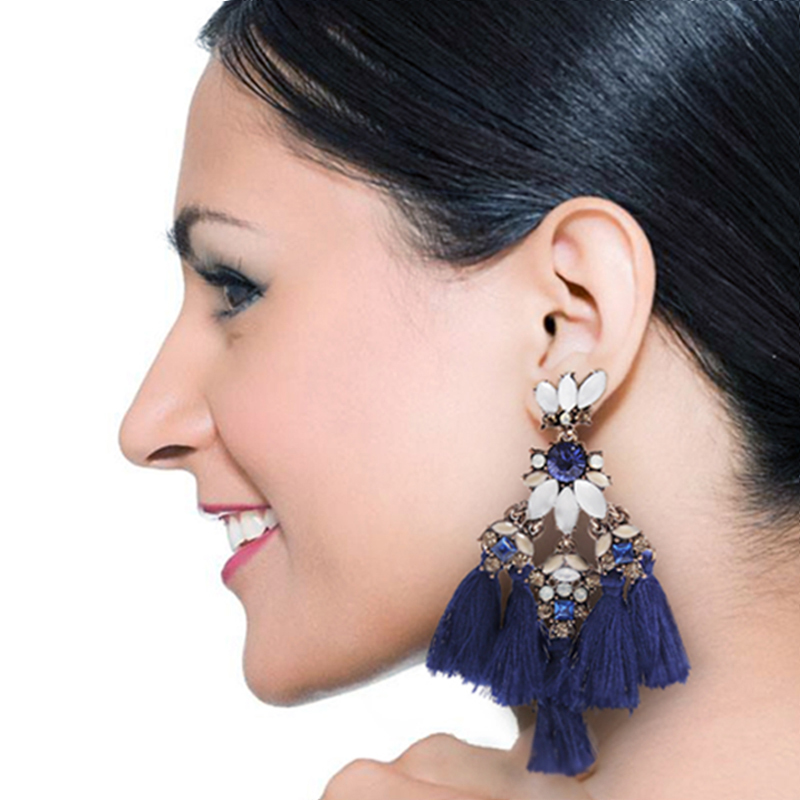 Luxury Exaggerate Tassel Earrings for Women Vintage Rhinestone Beads Fringe Drop Earrings Handmade Pendientes Jewelry 6A2001