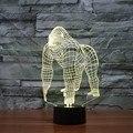 Creativo Regalos de Navidad Atmósfera chimpancé 3D decoración del hogar Dormitorio de La Lámpara de Luz de Noche LED con interruptor del Tacto