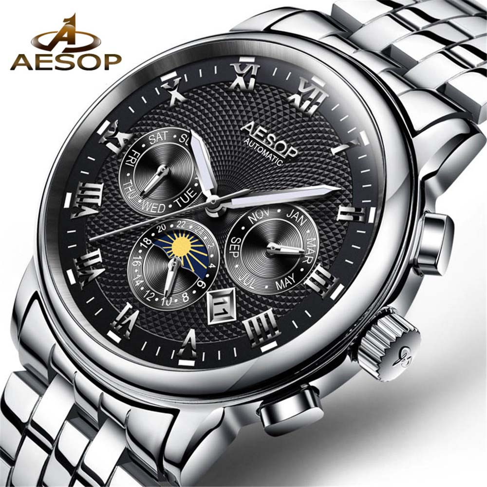AESOP Top Brand Luxury Mens Sports Watches Men Waterproof mechanical Watch Man Full Steel Military Automatic Wrist watch Relojes men watches lige top brand luxury men s sports waterproof mechanical watch man full steel military automatic wrist watch relojes