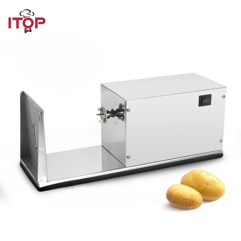 ITOP Electric Spiral Potato Cutter Vegetable Slicer Machine Tornado Potato Tower Machine Stainless Steel French Fries Cutters
