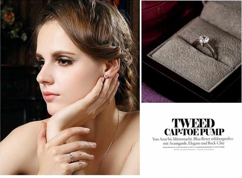 Брендовое ювелирное изделие Solitaire 6 мм камень 5A циркон камень 925 пробы серебро обручальное кольцо для женщин США Sz 4-10 подарок