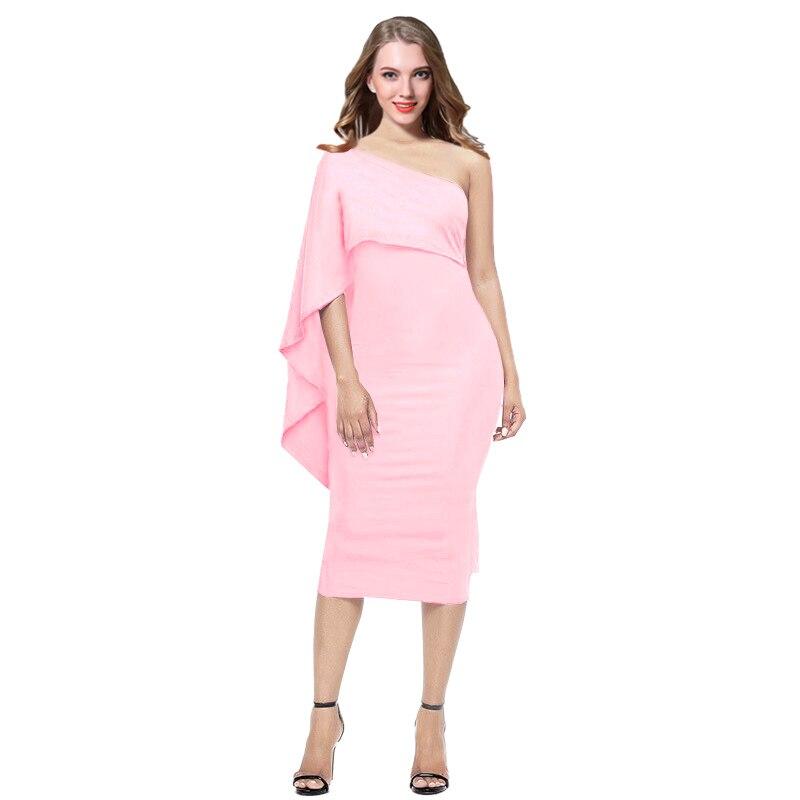 SEBOWEL 2017 White Bodycon Midi Dress Ruffles One Shoulder Elegant Short Party Dress Women Summer Bandage