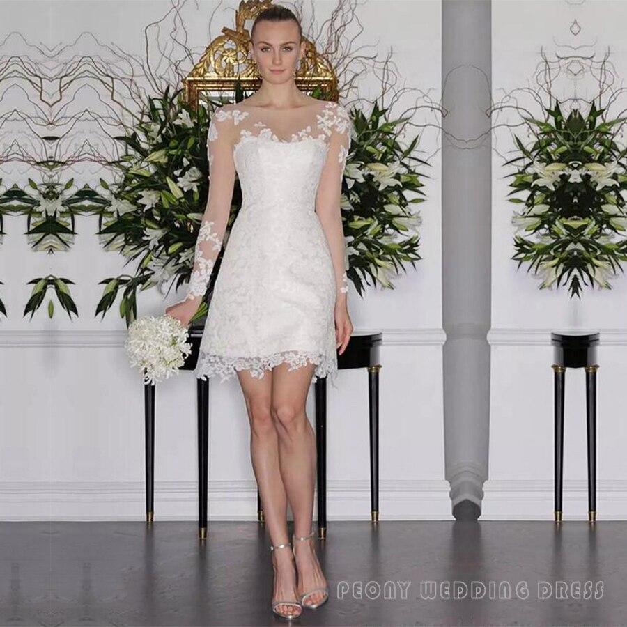 Pretty Short Sheath Lace Appliques Wedding Dresses Fashion