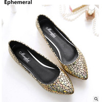 Ladies Gold Silver Flat Shoes European And American Style Max Size 43 44 45 Point Toe