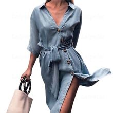 Laipelar Front Button Sexy Bandage Midi Dress Women Spring Autumn Female Loose Casual Shirt Dress Autumn Denim Dress with Sashes button front denim slit dress