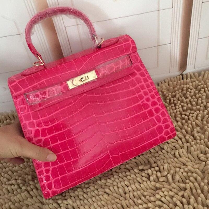 28CM 25CM 100% Genuine Leather Women Handbag Luxury Brand Designer alligator Shoulder Bag Classic crocodile grain crossbody bags