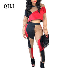 QILI Plus Size XXXL Hot Sale Jumpsuits Women Long Sleeve 2 Piece Patchwork Skinny Long Pants Jumpsuit Womens Buckskin Romper все цены