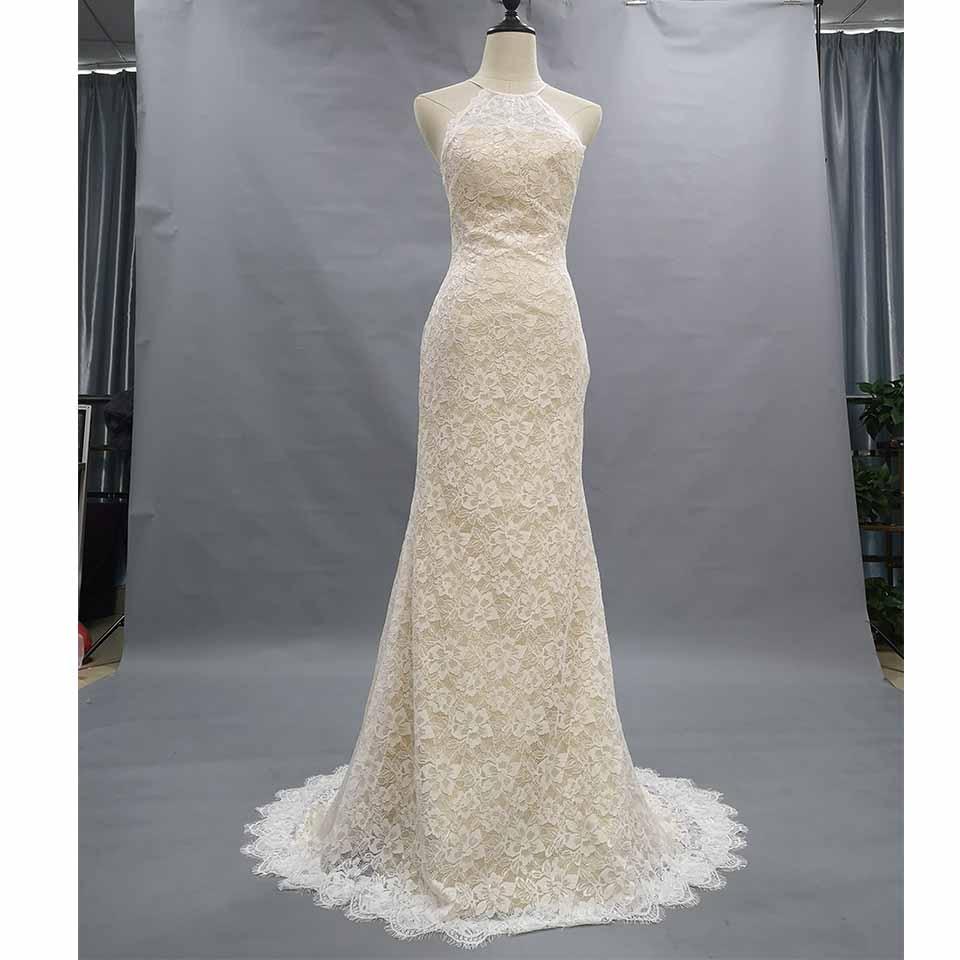 Cheap Mermaid Wedding Gowns: Vintage Lace Mermaid Wedding Dress 2019 Light Champagne