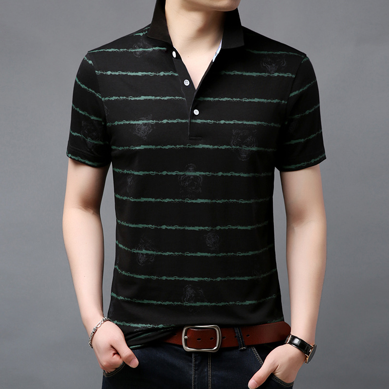 2019 Summer Fashion Brand Short Sleeve Polo Shirt Men Striped Business Polo Shirts Male Cotton Slim Fit Polo Tiger High Quality