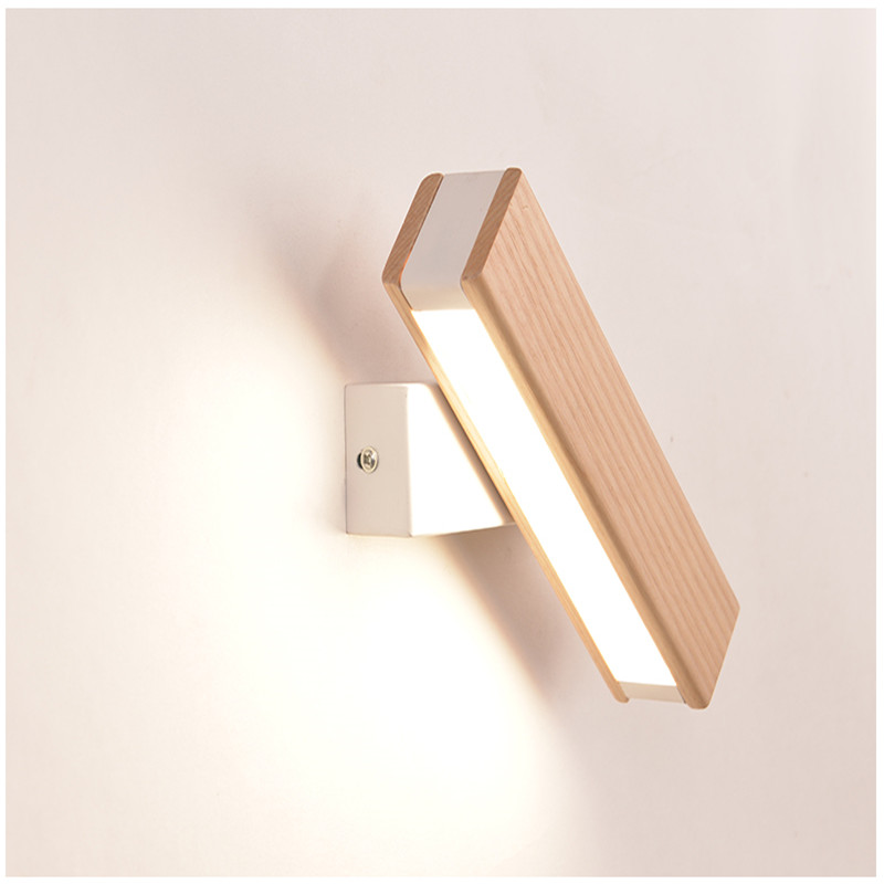 Nordic Bedroom Bedside Wall Lamp Solid Wood Aisle Simple Modern Creative Rotating Light Reading LED Wall Lamp Free Shipping